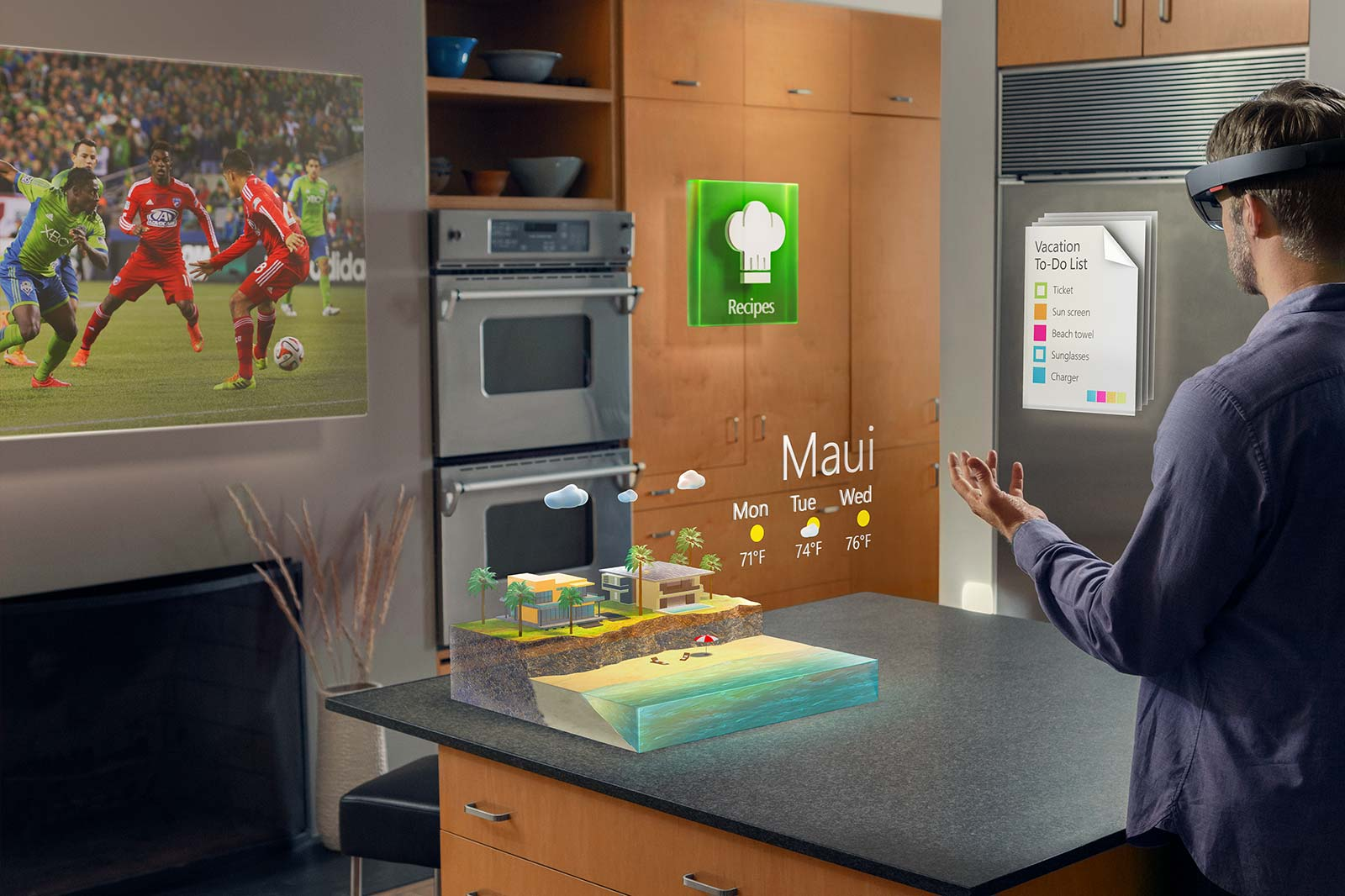 This image shows possible ways in which the HoloLens will be used in everyday life.