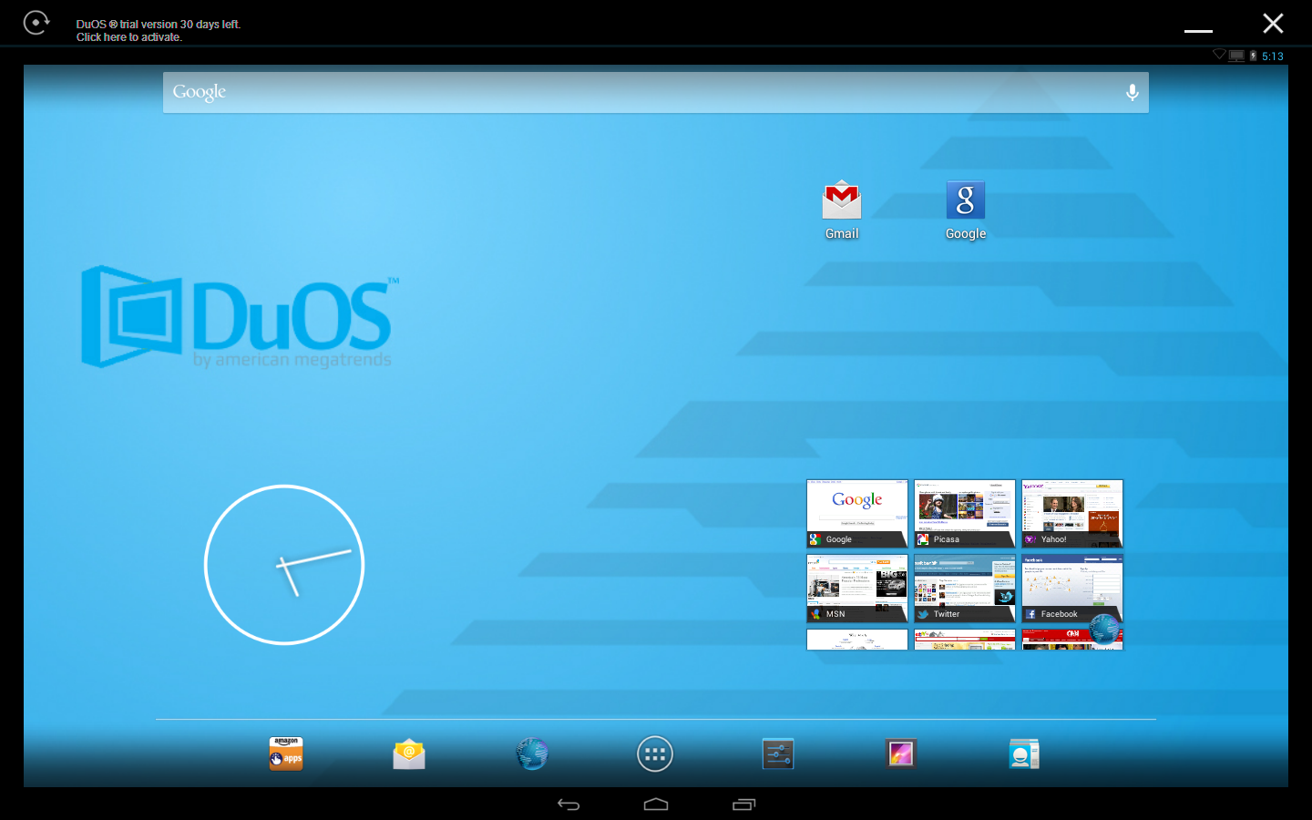 This is an image of what user's Windows PC will look like when they download AMIDuOS. It will have all the buttons that an Android has and it has its own personal background for the program.