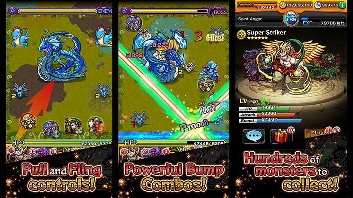This image shows the basic mechanics of Monster Strike. Players fight monsters and they aim their collected monsters in the direction of the enemy they are trying to hurt.