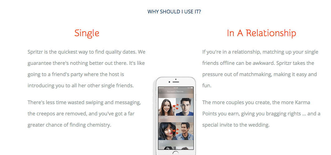 This image shows the difference in roles that people can play on this application. Singles can be suggest a person and couples are the matchmakers helping make people fall in love.