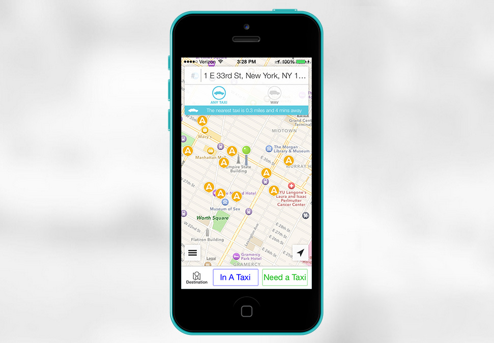 This is an example of how the app will find taxis in the area and allow users to call them.