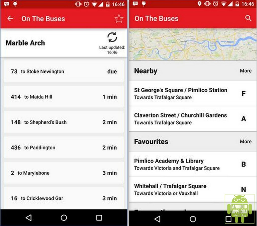 On The Buses London bus times app