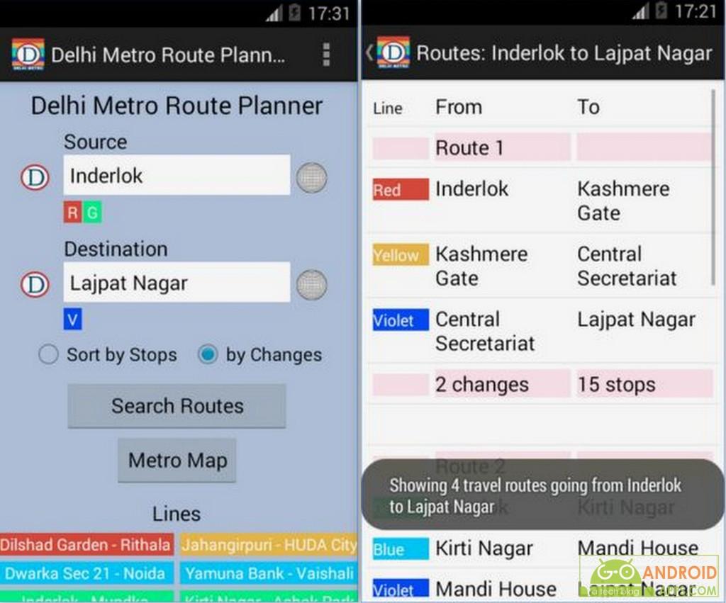 Delhi Metro Route Planner App