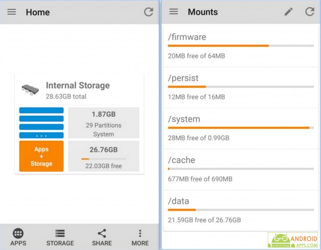 Storage Space android app