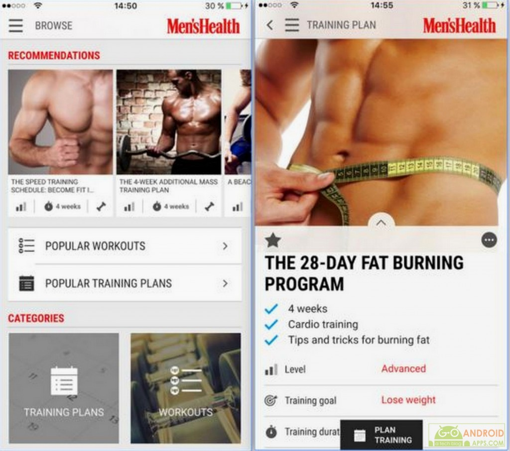 Mens Health Fitness Trainer App, Android Apps Weekly