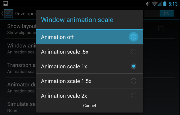 Make animation or switch them off
