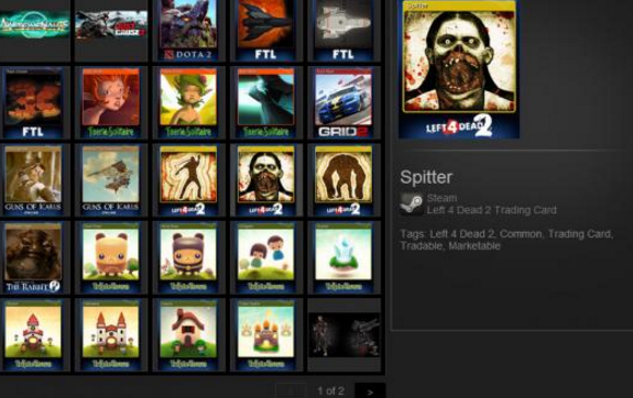 How does the steam trading card system work