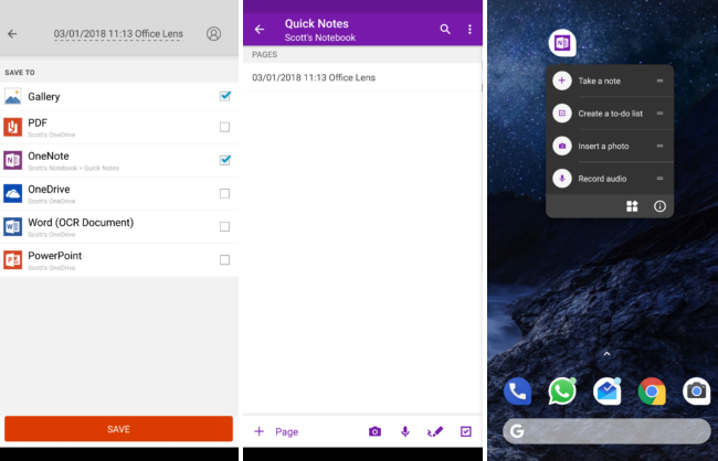onenote android versions