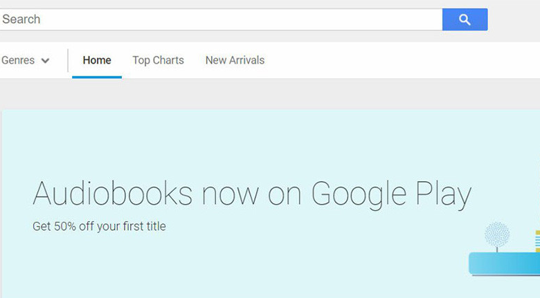 The Google Play store now sells audiobooks